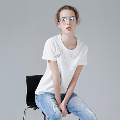 初语夏季新款 圆领小鸟印花刺绣短袖T恤女宽松文艺休闲学生上衣