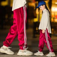 女童运动裤秋冬装儿童宽松长裤