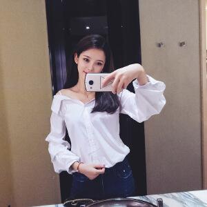 谜秀 吊带白色衬衫女2017秋装新款韩版一字肩chic长袖上衣衬衣夏