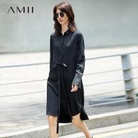 Amiipolo领 印花排扣腰带连衣裙女 秋装新款衬衫裙