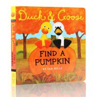 英文原版绘本 Duck and Goose Find a pumpkin 纸板书 小黄鸭与小白鹅系列 儿童图画故事书