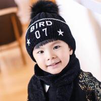 儿童帽子围巾两件套装针织冬季刺绣保暖男童女童秋冬中童小