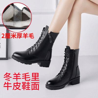 马丁靴女英伦风短靴女冬靴子女鞋子女学生韩版百搭羊毛靴牛皮