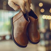 冬季儿童鞋子保暖侧拉链女童靴子男童马丁靴低筒短靴