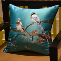【人气】新中式抱枕刺绣花鸟古典红木沙发靠垫套腰枕大床头软包中国风含芯【】