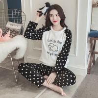 珊瑚绒睡衣女冬季甜美可爱韩版卡通学生清新法兰绒家居服秋季套装 712波点羊