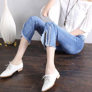 卡茗语夏季微喇叭时尚潮流学生中腰九分牛仔裤