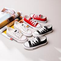 儿童帆布鞋亲子鞋母女鞋系带低帮男童女童鞋子
