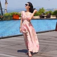 夏季波西米亚雪纺连衣裙印花V领褶皱海边渡假长裙沙滩裙女 粉色