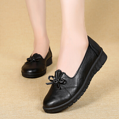 软底妈妈鞋工作鞋新款春秋休闲中老年人百搭单鞋舒适黑色皮鞋 G05黑【标准码】