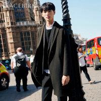 太平鸟男装中长款羊毛双面呢大衣男士宽松呢子大衣秋冬羊毛外套潮
