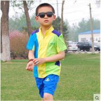 撞色拼接大气立领精致拉链快干短袖外穿防晒运动上衣儿童户外速干T恤