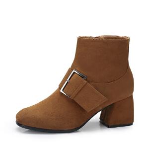 Camel/骆驼女靴 秋冬新款 时尚百搭方头短筒靴 绒面高跟靴子