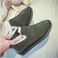 冬季棉鞋加绒保暖雪地靴女面包鞋女学生一脚蹬平底防滑显瘦