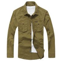 战地吉普AFS JEEP秋季新款长袖衬衫 男士休闲衬衣男长袖衬衫纯色