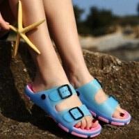 韩版一字拖夏季大码拖鞋男士凉拖鞋个性防滑沙滩鞋男洞洞浴室拖鞋