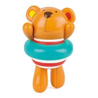 Hape发条游泳泰迪宝宝洗澡玩具戏水浴室玩具E0204