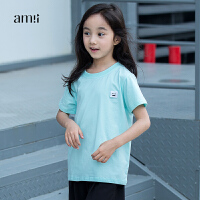 AMII童装年夏装新款中小儿童纯色圆领短袖笑脸棉T恤女童上衣