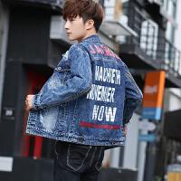 男士外套韩版潮流修身外衣春秋季新款牛仔夹克男帅气休闲长袖上衣 蓝色