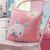 卡通动物午睡枕头汽车沙发抱枕被子两用靠垫办公室珊瑚绒空调靠枕毯子