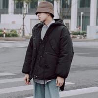 冬季日系复古工装连帽加厚保暖棉衣男士青年宽松棉袄潮流衣服外套