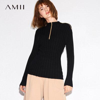 Amii[极简主义]秋装2017新撞色边半高领长袖修身针织毛衣11744140