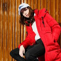 初语个性原创宽松羽绒服女中长款2017冬季新款 时尚下摆抽绳外套