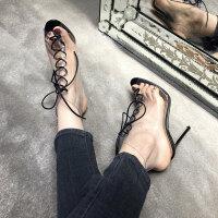 欧美新款夏季仙女风罗马鞋透明圆头绑带鱼嘴空高跟细跟性感女凉鞋