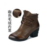 手工复古女靴粗跟尖头女短靴羊皮女士高跟棉鞋单靴子女冬 毛靴