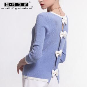 灏领衣尚春季新品背部经典蝴蝶结前置假口袋七分袖套头短款针织衫