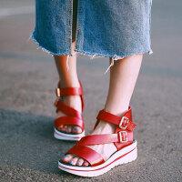 娜箐箐头层牛皮休闲厚底露趾女鞋中跟坡跟真皮凉鞋女