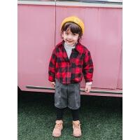 男童格子衬衫儿童冬装外套小童长袖宝宝洋气上衣