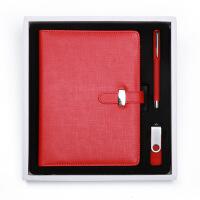 公司年会记事本U盘套装商务办公活页本定做简约礼盒套装日记本可定制