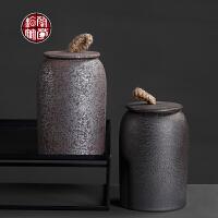 铁锈釉茶叶罐陶瓷罐子复古创意密封直柱型景德镇粗陶储物罐存茶罐