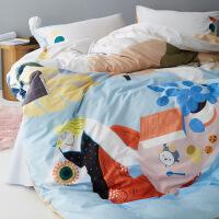 【人气】床上四件套全棉纯棉原创设计简约北欧风床单卡通插画床上ins风 悠闲生活插画四件套