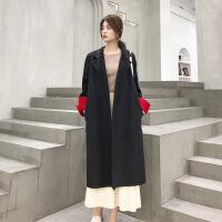 双面羊绒大衣女中长款2018冬季新款韩版女士流行过膝毛呢外套 黑色+红色袖子 S