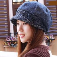 秋冬帽子女帽潮人帽蝴蝶结呢帽加厚保暖护耳帽渔夫帽瘦脸帽时装帽