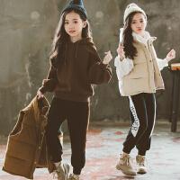女童三件套秋冬装儿童洋气卫衣套装时髦大童装潮