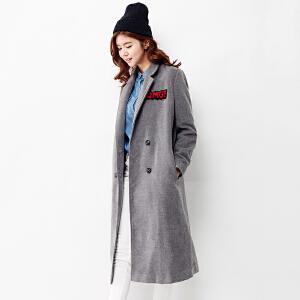 【2件3折价239.7元】唐狮秋冬外套女合体型双排扣贴标装饰长款呢外套