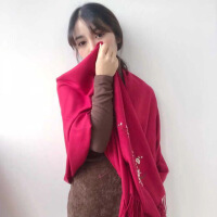 №【2019新款】酷媛秋双面双色羊绒围巾女士韩版冬天小披肩两用加厚围脖