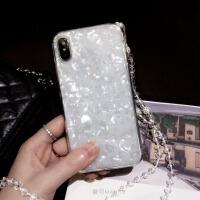 贝壳水晶挂绳苹果xs max手机壳XR硅胶iphone7p潮牌8plus新款6s女 6/6s 4.7寸 白色