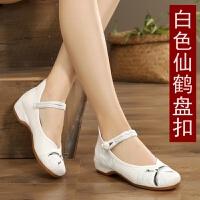 古风鞋子女汉服鞋学生复古中国风古装女绣花鞋坡跟汉鞋