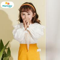 【1件2折】马卡乐童装22春新款女宝宝打底衫长袖蕾丝娃娃领女童衬衫