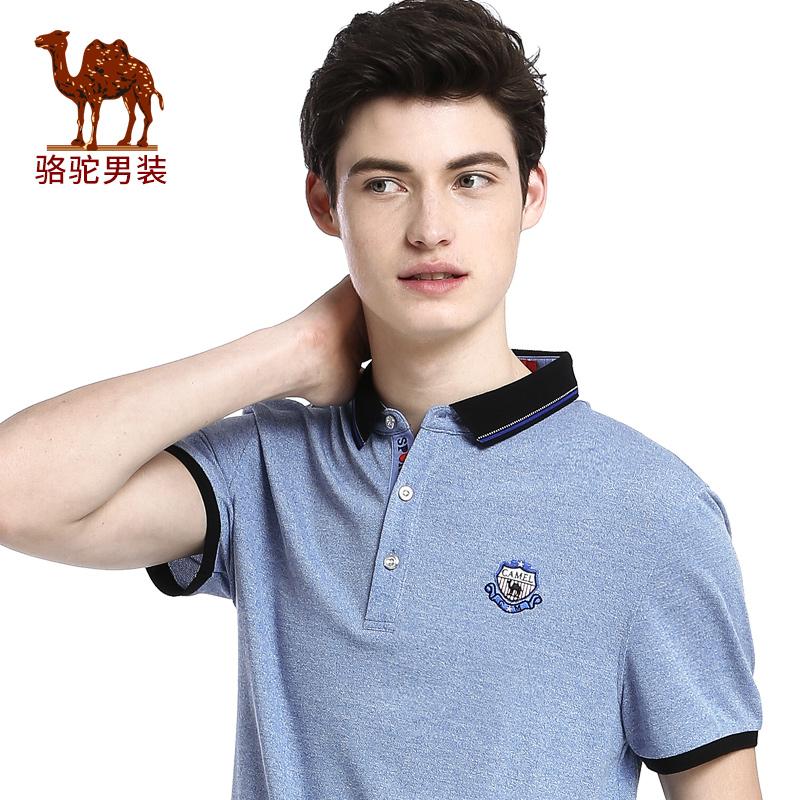 骆驼男装 夏季新款翻领纯色绣标POLO衫微弹男青年短袖T恤