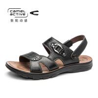 德国骆驼动感夏季凉鞋男真皮男鞋透气韩版潮流沙滩鞋防滑两用凉鞋