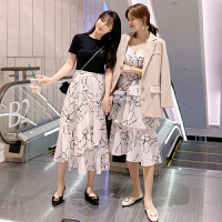 茉蒂菲莉 孕妇裙 女士圆领棉麻裙子夏装新款韩版女装中长款休闲开衫长裙女式连衣裙两件套装孕妇装