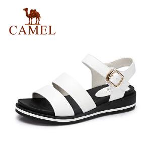 Camel/骆驼女鞋 2017夏季新款 日系原宿风露趾小坡跟休闲凉鞋