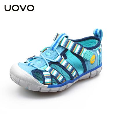 【1件3折后价89.7元】UOVO童鞋新款夏季包头儿童凉鞋男童女童搭扣镂空沙滩鞋中小童 虹