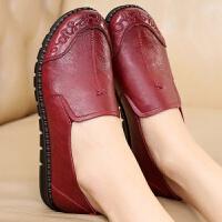 春款中老年单鞋妈妈鞋平底平跟软底皮鞋女舒适老人奶奶单鞋轻
