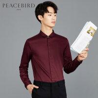 太平鸟男装 酒红色男士长袖衬衫翻领商务休闲正装上衣韩版潮流